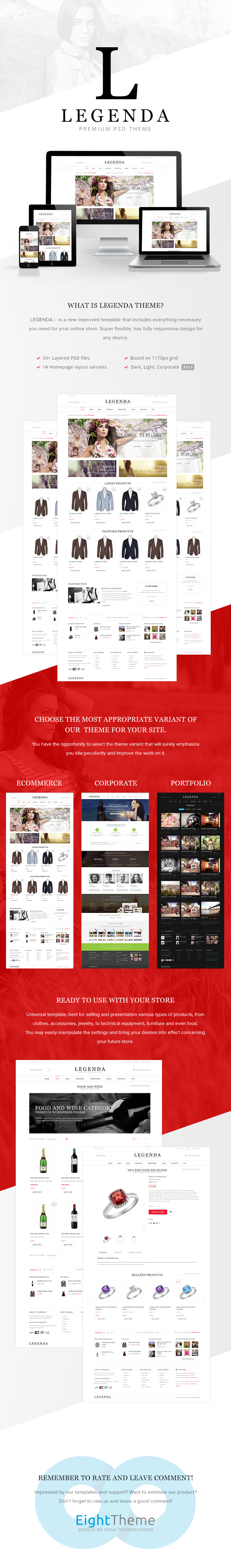 Legenda - E-Commerce and Corporate PSD Theme