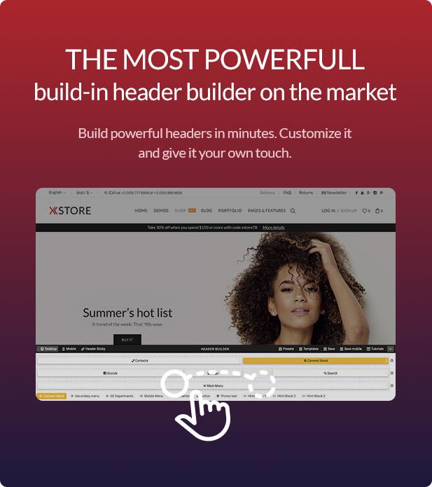 Xstore WooCommerce WordPress - header builder