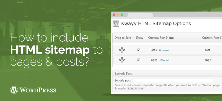 how to add an html sitemap to wordpress themes