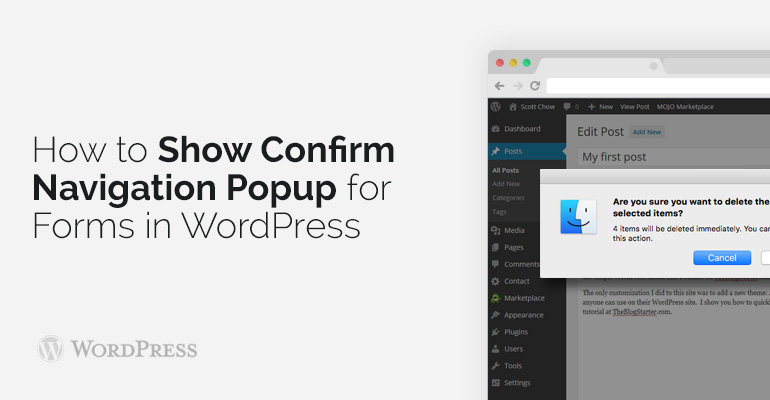 How to Show Confirm Navigation Popup for Forms in WordPress